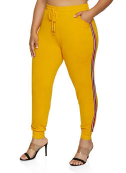 Plus Size Striped Tape Soft Knit Joggers - 3961061633539