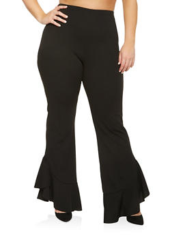 Plus Size Ruffle Hem Pants - 3961062123825