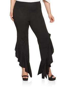 Plus Size Ruffled Detail Pants - 3961062126815