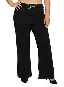 Plus Size Metallic Detail Pintuck Dress Pants - 3961062416783