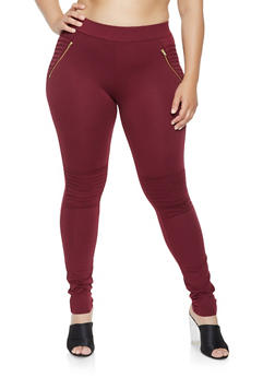 Plus Size Zip Moto Ponte Pants - 3961062700650