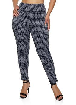 Plus Size Geometric Knit Dress Pants - 3961062706206