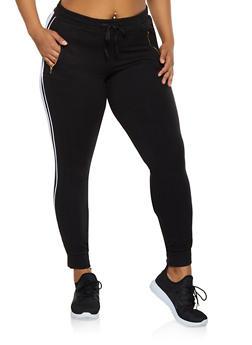 Plus Size Side Stripe Soft Knit Joggers - 3961062707070