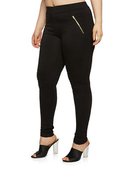 Plus Size Moto Ponte Knit Pants - 3961062707650