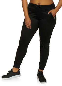 Plus Size Zip Pocket Joggers - 3961062708760