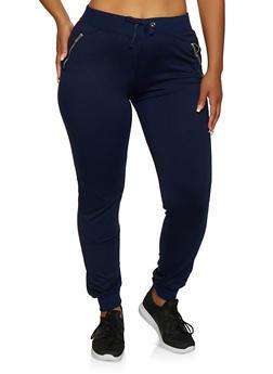 Plus Size Zip Pocket Joggers - 3961062708760