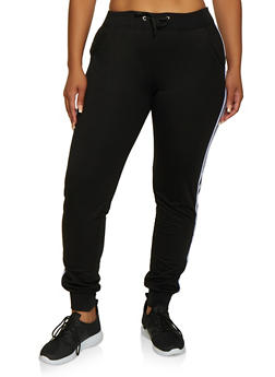 Plus Size Varsity Stripe French Terry Lined Joggers - 3961062708770