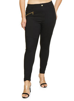 Plus Size Moto Jeggings - 3961062906117