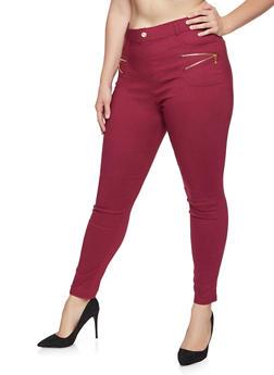 Plus Size Zipper Trim Jeans - 3961062906124