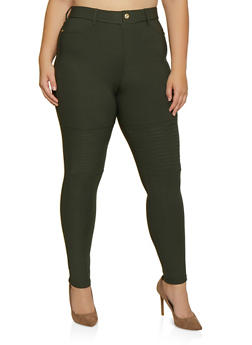 Plus Size Pull On Scuba Jeggings - 3961063403514
