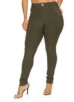 Plus Size Push Up Scuba Jeggings - 3961063407286