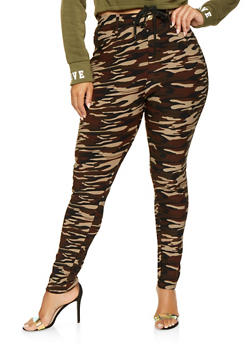Plus Size Camo Scuba Jeggings - 3961063408433