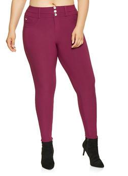 Plus Size Scuba Knit Pull On Pants - 3961063408434