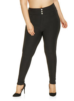 Plus Size Scuba Knit Pull On Pants - 3961063408528