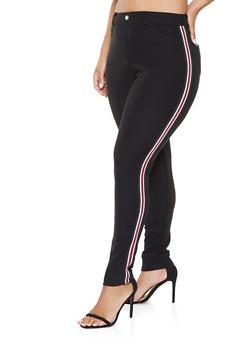Plus Size Striped Ribbed Knit Trim Pants - 3961063409284