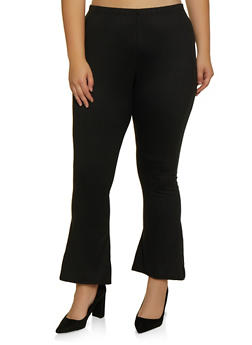 Plus Size Flared Soft Knit Pants - 3961074010024
