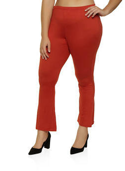 Plus Size Flared Soft Knit Pants - 3961074010024