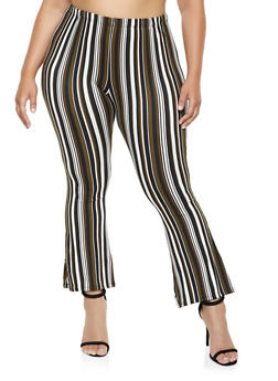 Plus Size Printed Flared Pants - BLACK - 3961074010079