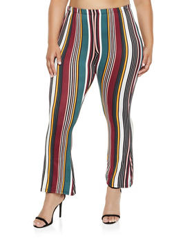 Plus Size Printed Flared Pants - 3961074010079