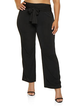 Plus Size Tie Front Solid Palazzo Pants - 3961074010086