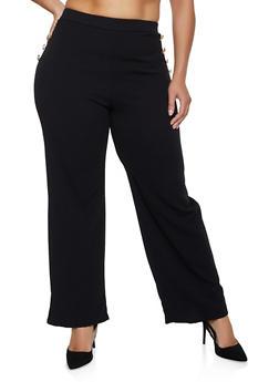 Plus Size Pull On Sailor Dress Pants - 3961074010099
