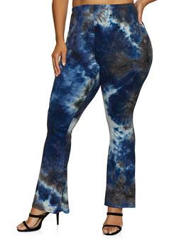 Plus Size Tie Dye Flared Pants - 3961074010115