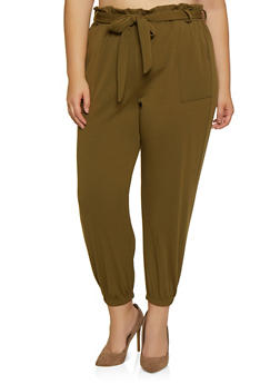 Plus Size Textured Knit Paper Bag Waist Joggers - 3961074010530