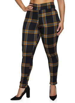 Plus Size Plaid Skinny Pants - 3961074010540