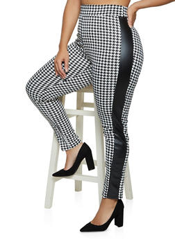 Plus Size Faux Leather Trim Houndstooth Pants - 3961074010541