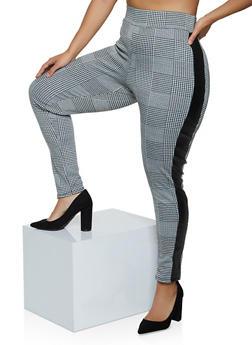 Plus Size Faux Leather Trim Plaid Pants - 3961074010542