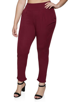 Plus Size Pull On Textured Knit Pants - 3961074010544