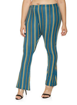 Plus Size Striped Soft Knit Flared Pants - 3961074015900