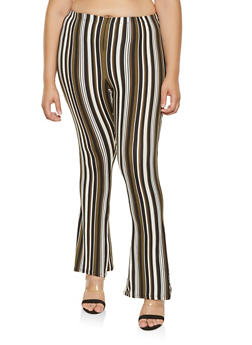 Plus Size Striped Soft Knit Flared Pants - 3961074015902