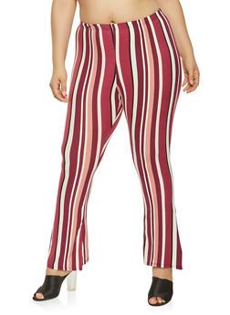 Plus Size Striped Soft Knit Flared Pants - 3961074015902
