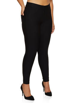 Plus Size Ponte Knit Pull On Dress Pants - 3961074641000