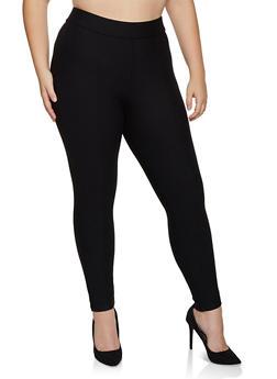 Plus Size Pull On Skinny Ponte Pants - 3961074646109