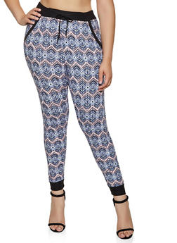 Plus Size Printed Contrast Trim Joggers - 3961074646919