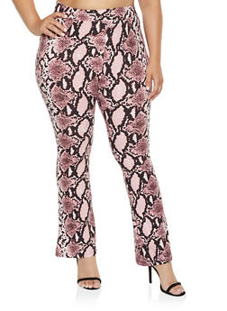 Plus Size Animal Print Flared Pants - 3961074647008