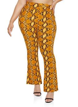 Plus Size Animal Print Flared Pants - 3961074647008