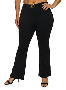Plus Size Flared Crepe Knit Pants - 3961075175012