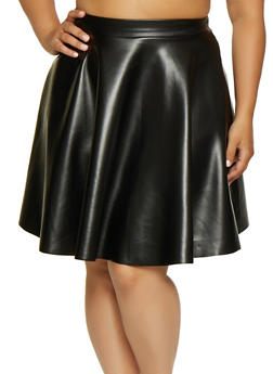 Plus Size Faux Leather Skirt - 3962020626883
