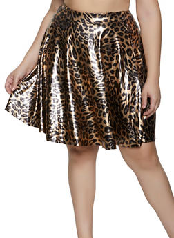 Plus Size Leopard Skater Skirt - 3962020626887