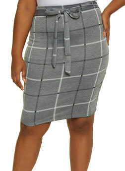 Plus Size Plaid Skirt - 3962020629073