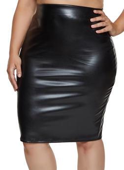 Plus Size Faux Leather Pencil Skirt - 3962020629086