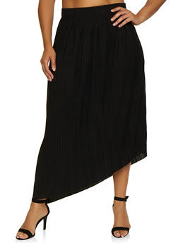Plus Size Solid Pleated Maxi Skirt - 3962038340078