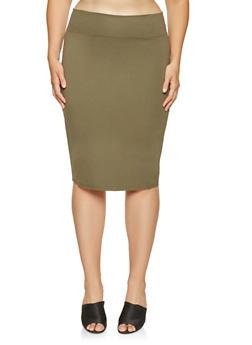 Plus Size Midi Pencil Skirt - 3962051060470