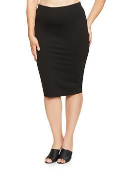 Plus Size Ponte Knit Pencil Skirt - 3962051066471