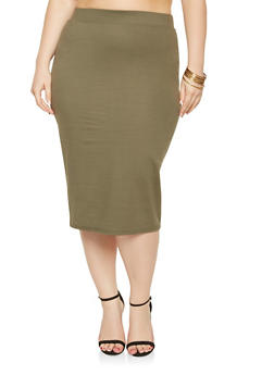 Plus Size Ponte Knit Pencil Skirt - 3962051066471