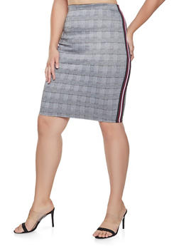 Plus Size Plaid Striped Tape Pencil Skirt - 3962051066545