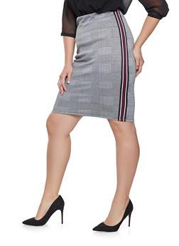 Plus Size Plaid Striped Tape Pencil Skirt - 3962051066545